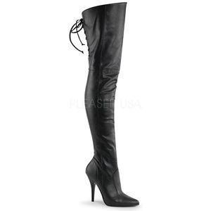 Shoes - High Heel Thigh High Boots Lace Up Back Zipper
